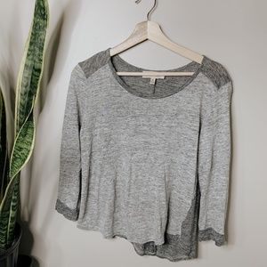 • PHILOSOPHY • gray scoop neck long sleeve tee
